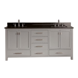 Modero Chilled Gray 72-Inch Double Vanity Combo with Black Granite Top
