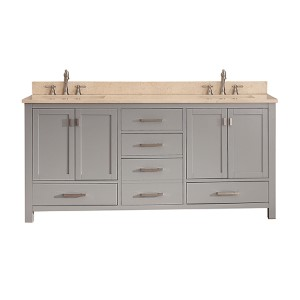 Modero Chilled Gray 72-Inch Double Vanity Combo with Galala Beige Marble Top
