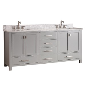 Modero Chilled Gray 72-Inch Double Vanity Combo with White Carrera Marble Top
