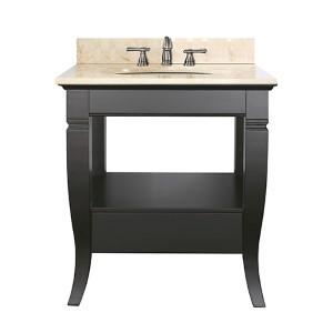Milano Black 30-Inch Sink Vanity with Galala Beige Marble Top
