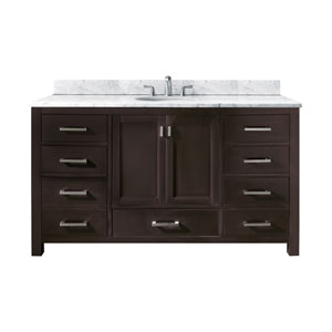 Modero 60-Inch Espresso Single Vanity with Carrera White Marble Top and Single Sink