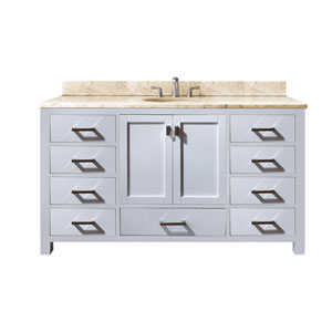 Modero 60-Inch White Single Vanity with Galala Beige Marble Top and Single Sink