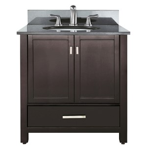 Modero Espresso 36-Inch Sink Vanity with Black Granite Marble Top
