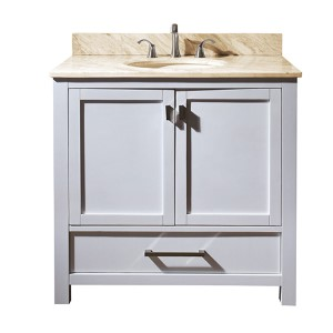 Modero White 36-Inch Sink Vanity with Galala Beige Marble Top