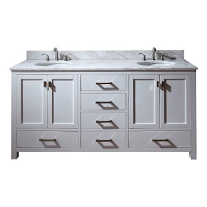 Modero White 72-Inch Double Sink Vanity with Carrera White Marble Top
