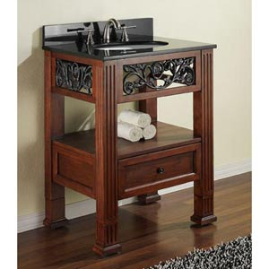 Napa 24-Inch Dark Cherry Vanity with Black Granite Top and Undermount Sink