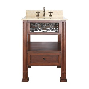 Napa Dark Cherry 24-Inch Sink Vanity with Galala Beige Marble Top