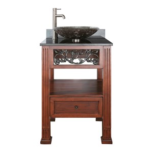 Napa Dark Cherry 24-Inch Sink Vanity with Black Granite Vessel Top
