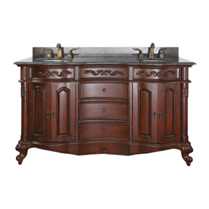Provence 60-Inch Vanity Only in Antique Cherry Finish