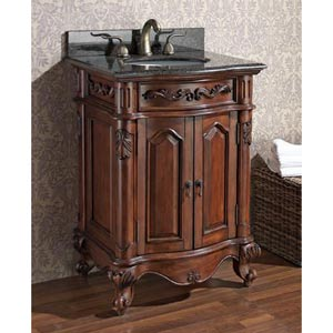 Provence 24-Inch Antique Cherry Vanity with Imperial Brown Granite Top and Undermount Sink
