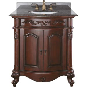 Provence 30-Inch Antique Cherry Vanity with Imperial Brown Granite Top and Sink
