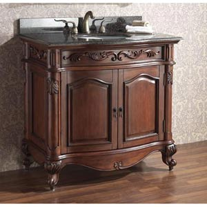Provence 36-Inch Antique Cherry Vanity with Imperial Brown Granite Top and Undermount Sink
