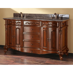 Provence 60-Inch Antique Cherry Vanity with Imperial Brown Granite Top and Double Undermount Sinks
