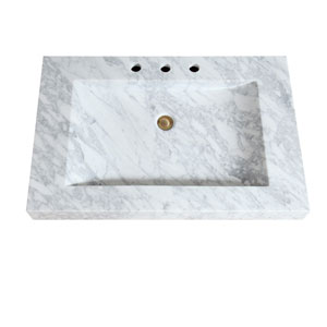 Stone Integrated 33-Inch White Sink Top