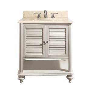 Tropica Antique White 24-Inch Sink Vanity with Galala Beige Marble Top