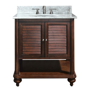 Tropica Antique Brown 30-Inch Sink Vanity with Carrera White Marble Top