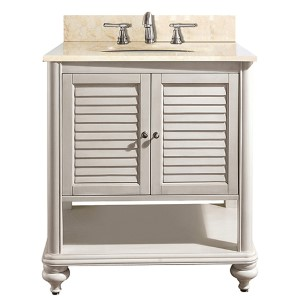 Tropica Antique White 30-Inch Sink Vanity with Galala Beige Marble Top