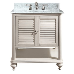 Tropica Antique White 30-Inch Sink Vanity with Carrera White Marble Top