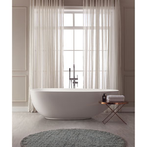 Muse White Solid Surface Oval Bathtub