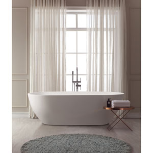 Flux White Solid Surface Oval Bathtub