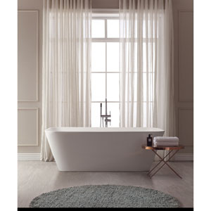 Yoshi White Solid Surface Rectangular Bathtub