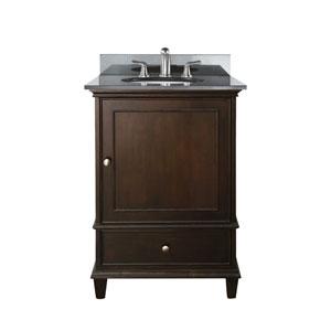 Windsor 24-Inch Walnut Vanity with Black Granite Top and Undermount Sink