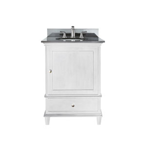 Windsor 24-Inch White Vanity with Black Granite top and Undermount Sink