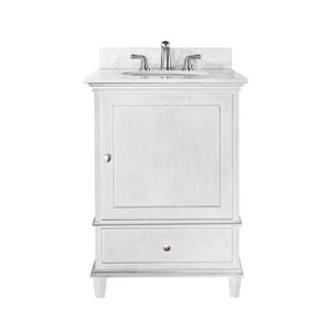 Windsor 24-Inch White Vanity with Carrera White Marble top and Undermount Sink