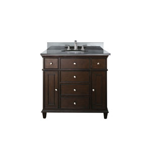 Windsor 36-Inch Walnut Vanity with Black Granite top and Undermount Sink