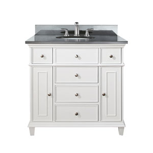 Windsor 36-Inch White Vanity with Black Granite top and Undermount Sink