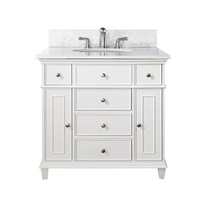Windsor 36-Inch White Vanity with Carrera White Marble top and Undermount Sink