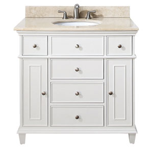 Windsor White 36 Inch Vanity With Galala Beige Marble Top