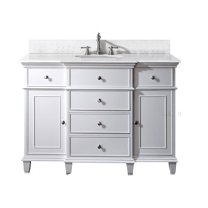 Windsor 48-Inch White Vanity with Carrera White Marble top and Undermount Sink