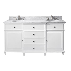 Windsor 60-Inch White Vanity with Carrera White Marble top and Dual Undermount Sinks