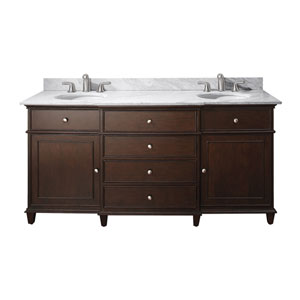 Windsor 72-Inch Walnut Vanity with Carrera White Marble top and Dual Undermount Sinks