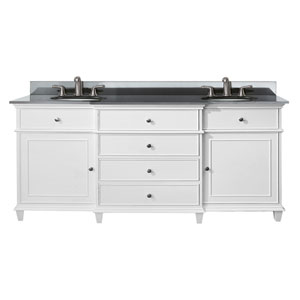 Windsor 72-Inch White Vanity with Black Granite top and Dual Undermount Sinks