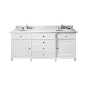 Windsor 72-Inch White Vanity with Carrera White Marble top and Dual Undermount Sinks