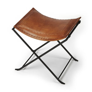 Melton Brown Leather Stool