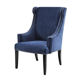 Marcel Blue High Back Wing Chair