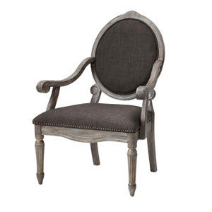Brentwood Charcoal Exposed Wood Arm Chair