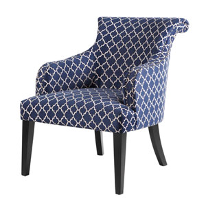 Alexis Navy Rollback Accent Chair