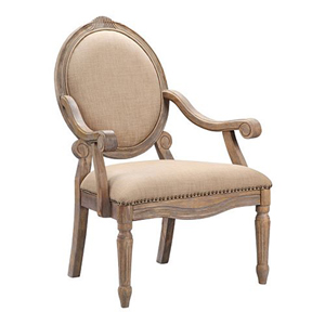 Brentwood Linen Exposed Wood Arm Chair