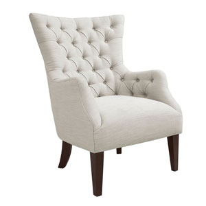 Hannah Ivory Button Tufted Wing Chair