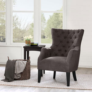 Hannah Charcoal Button Tufted Wing Chair