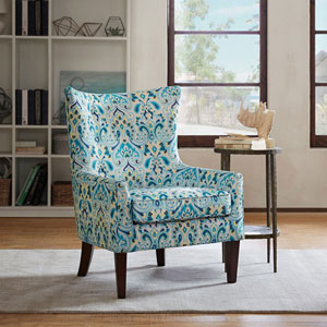 Carissa Teal Shelter Wing Chair