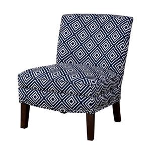 Hayden Navy and White Slipper Accent Chair