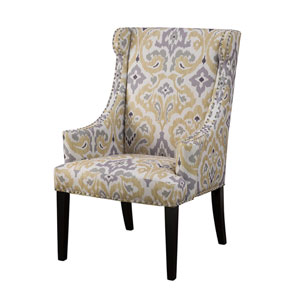 Marcel Yellow and Gray High Back Wing Chair