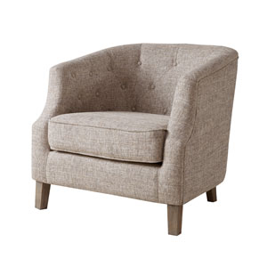 Ansley Natural Chesterfield Barrel Chair