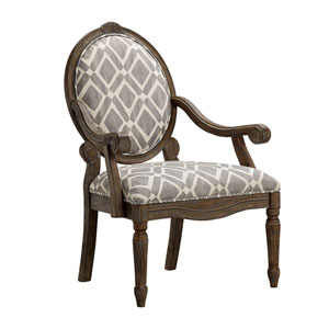 Brentwood Gray and White Exposed Wood Arm Chair