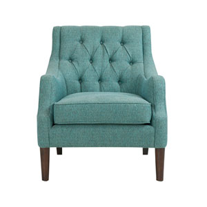 Qwen Blue Button Tufted Chair
